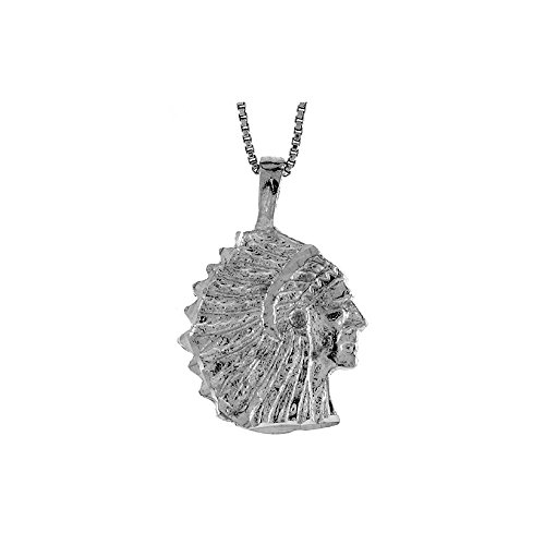 .925 Sterling Silver Native American Chief Charm Pendant
