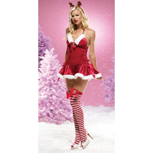 Sexy Costumes: Sexy Teens in Two Piece Reindeer Games Dress With Lace-Up Sides & Rudolf Bow & Headpiece