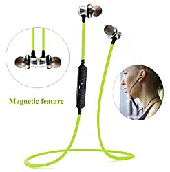 Bluetooth Earbuds, Sweatproof Wireless Bluetooth Stereo Headphones Headset Magnet wearable bluetooth V4.0 In-Ear Earphones Noise Reduction Headphones with Mic for iPhone, iPad, Android Phones-Green