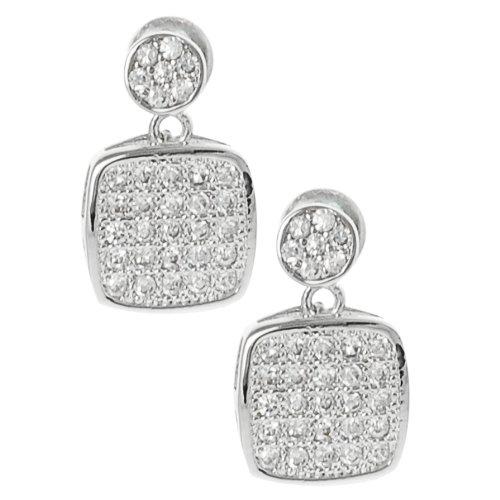 Silvertone Pave-set Cubic Zirconia Earrings