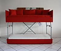 Sofa bed bunk with innovative mechanism with three safeties and mattresses included. Coating in eco-leather. MADE IN ITALY