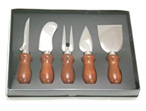 Set of 5 Cheese Knives - Stainless Steel with Rosewood Handles by chefgadget