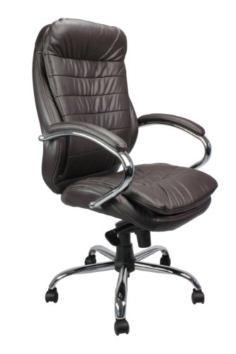 Eliza Tinsley 618KTAG/LBW High Back Leather Faced Executive Armchair with Chrome Base