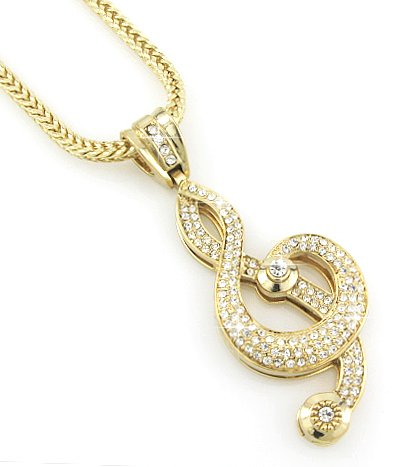 """Hip-Hop Bling Gold Tone Music Note G-Clef Cross Pendant With 30"""" Chain,"""