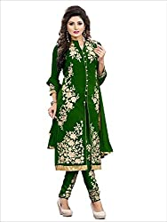 Decent World Green Georgette Exclusive Dress Material