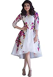 Style Mania Women's Georgette Kurti (KAW1_White_Free Size)