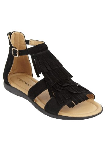 Comfortview Women'S Wide Ellie Fringe Sandal Energy Flex Black,9 1/2 Ww