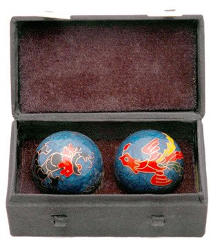 Great Good 40th 50th 60th Birthday Gift Idea – 1.5″ Chinese Health Balls w/ Dragon & Phoenix w/ Case