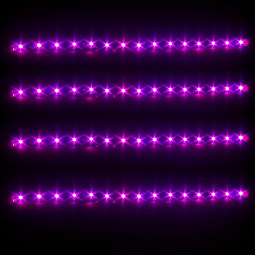 Partsam 4x 30CM 5050 SMD Car Waterproof DRL Driving Led Strip Lights Pink Purple 12V (Pink Led Light Car compare prices)