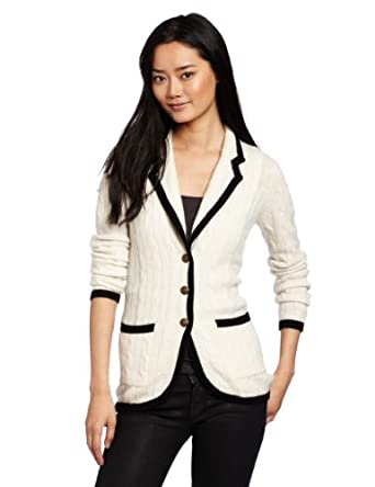 Autumn Cashmere Women's Contrast Banded Cable Blazer, Winter White/Black, X-Small