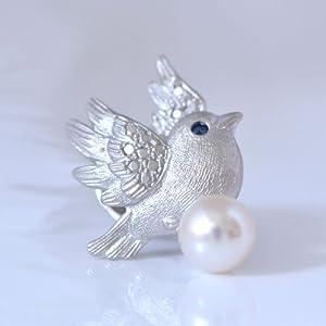 ピンブローチ 男女兼用 幸せの青い鳥サファイア 真珠パール【誕生日 プレゼント ジュエリー】