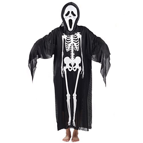 Halloween Adults Skull Skeleton Ghost Clothing with Mask Screaming Masquerade Costume