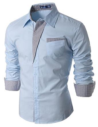 Doublju Mens Dress Shirt with Contrast Detail SKY (US-XS)