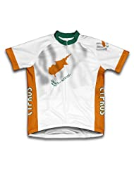 Cyprus Flag Short Sleeve Cycling Jersey for Women
