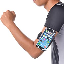 TFY Open-Face Sport Armband + Key Holder for iPhone 5/5S & iPhone 6, Gray - (Open-Face Design - Direct Access to Touch Screen Controls)