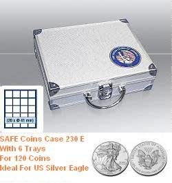 "Safe 230 E Coin Case Compact With "" USA "" 3D Logo And 6 x Trays 6341 for US Silver Eagle"