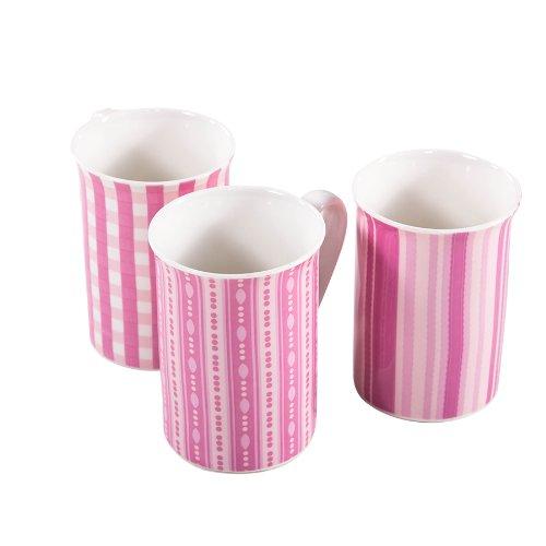 3 Stk Kaffeetassen rosa streifen punkte karo Tassen Kaffee Teetassen Becher Tasse Keramik Frauen Geschenk