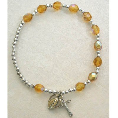 Adult Womens Stretch Rosary Bracelet Birthstone Topaz November.