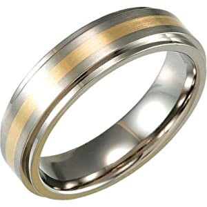 7 mm Titanium and 14k Yellow Gold Beveled Satin Comfort Fit Band Size 9.5