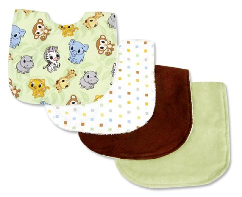 Chibi Zoo 4 Piece Bib Set front-1037357