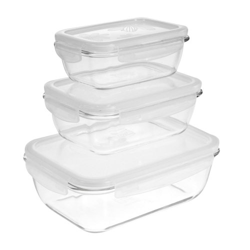6Pc Lock&Lock Glass Clear Food Storage Container, Snap Floral Lids