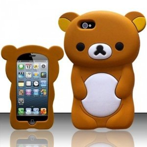 Iphone 5 3D Teddy Bear Silicon Case Cover - Brown