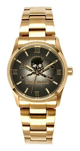 Zadig Voltaire ZV &001/Rock am-Unisex Watch Analogue Quartz Black Dial Gold Plated Steel Bracelet
