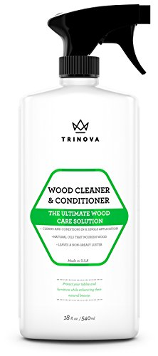 Wood Cleaner, Conditioner & Polish - For Hardwood Floors, Furniture & Cabinets - Removes Stains & Restores Shine - Wax & Oil Polisher - Works on Stained & Unfinished Surfaces - 18 OZ - TriNova (Cabinet Cream compare prices)