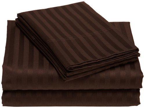 Elite Home Collection Wrinkle Resistant Woven Stripe 300-Thread Count 100-Percent Cotton Sateen California King Sheet Set, Chocolate front-651375