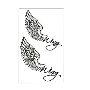 Simple Angel Wings Totem Body Tattoo Stickers Temporary Tattoos