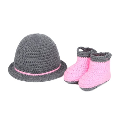Double Baby Knit Crochet Hat Shoes Photo Prop Costume Set0-24 Months