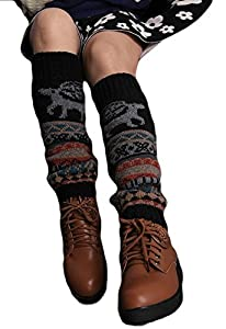 Womens Deer Print Knitted Flat Crochet Leg Warmer by asc
