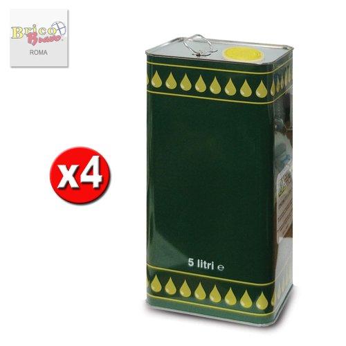 x4 Lattina latta in metallo per olio contenitore 5lt con tappo e maniglia 0801
