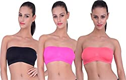 PIFTIF seamless non padded non wire strapless bandeau full side covrage tube bra for women's and girl s fit size ( 28 in to 36 in) GAJRII RANI BLACK