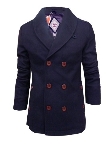 Mens Bellfield Owen Pea Coat Shawl Collar Winter Jacket (XX Large, Navy)
