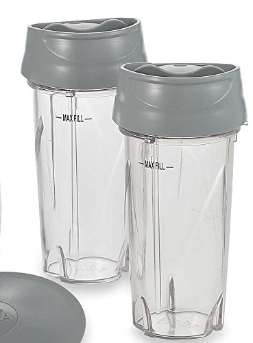 Nutri Ninja Single Serve Cup (16 oz.) & Lid for PULSE Blenders (2 Pack, To-Go Lid) (Ninja Blender Single Cups compare prices)