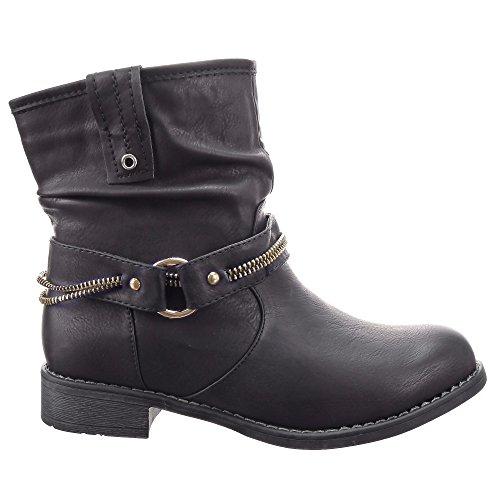 Sopily - Scarpe da Moda Stivaletti - Scarponcini Cavalier Biker alla caviglia donna fibbia Zip Tacco a blocco 3 CM - soletta sintetico - foderato di pelliccia - Nero FRF-A037 T 37 - UK 4