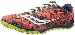 Saucony Men\'s Shay Xc4 Flat Cross County Flat Shoe,Red/Navy/Citron,10.5 M US