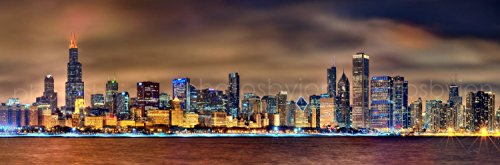 POPART Modern Canvas Painting Wall Art The Picture For Home Decor Chicago Skyline at night City Panorama cityscape the picture print on canvas wall art for home decor wall decor (Chicago Skyline Framed Picture compare prices)