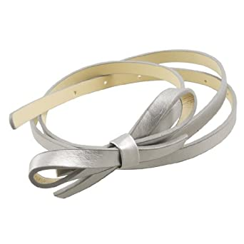 Silver Tone 9mm Width Bowtie Accent Press Buckle Faux Leather Waistband Belt