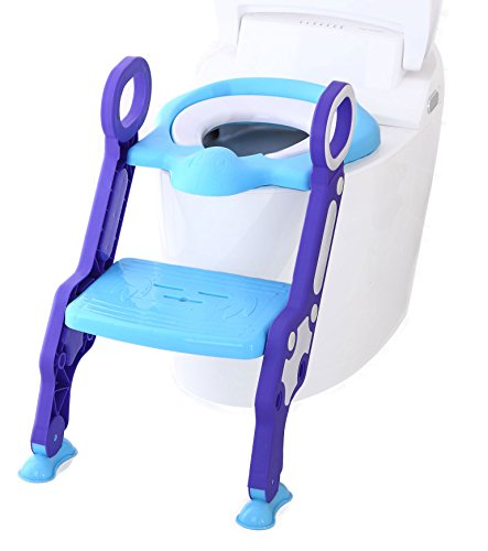 Riduttore per wc con scaletta & pieghevole vasino formazione di & educazione al vasino (blu+viola) portatile ONE SMALL STEP