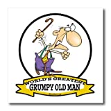 3dRose ht_103238_2 Funny Worlds Greatest Grumpy Old Man Cartoon-Iron on Heat Transfer for White Material, 6 by 6-Inch
