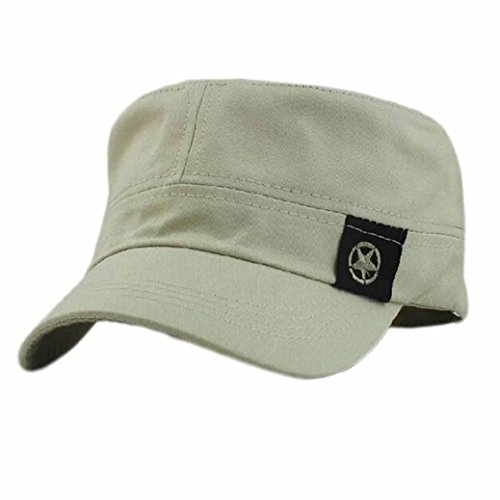 Caps, Toraway Unisex Flat Roof Military Hat Cadet Patrol Bush Hat Baseball Field Cap (Beige) (Bush Hat Leather compare prices)