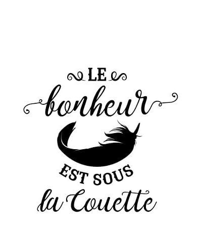 ZZ-Ambiance-sticker Vinilo Decorativo French Quote Le Bonheur Est Sous La Couette Design