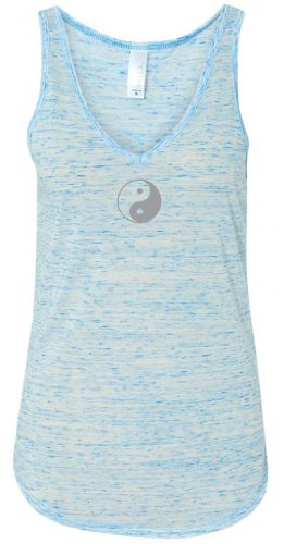Yoga Clothing For You Ladies Yin Yang (Small Print) V-Neck Tank, Small Blue Marble