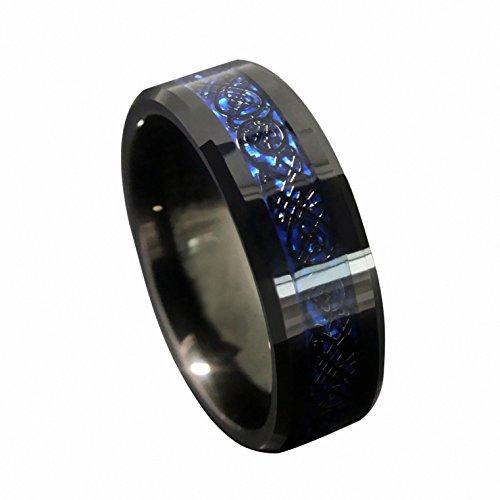 Queenwish 8mm Blue Black Celtic Dragon Tungsten Carbide Ring Wedding Band Men