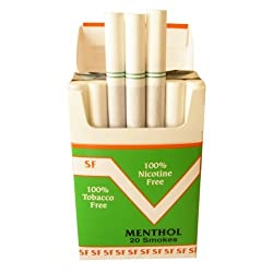 FREE SHIPPING (1) PACK Made In USA Since 1998 100% Nicotine Free (Cocoa Bean) Cigarettes Menthol Flavors-Smooth Taste With A Pleasant Aroma. All Orders Are Ship Same Day Or Next Business Day