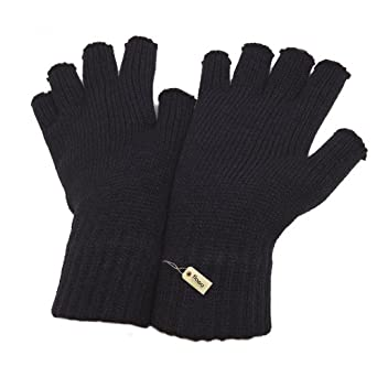 FLOSO® Ladies/Womens Winter Fingerless Gloves (One Size) (Black)