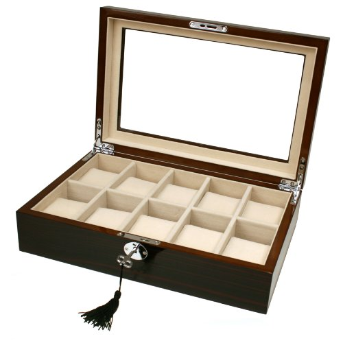 Swiss Watches:10 Watch Box Ebony Finish Large Compartments High Clearance Glass Top Images