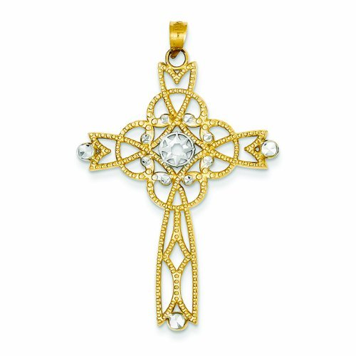 PriceRock 14K Gold & Rhodium Diamond-Cut Beaded Trim Infinity Cross Pendant